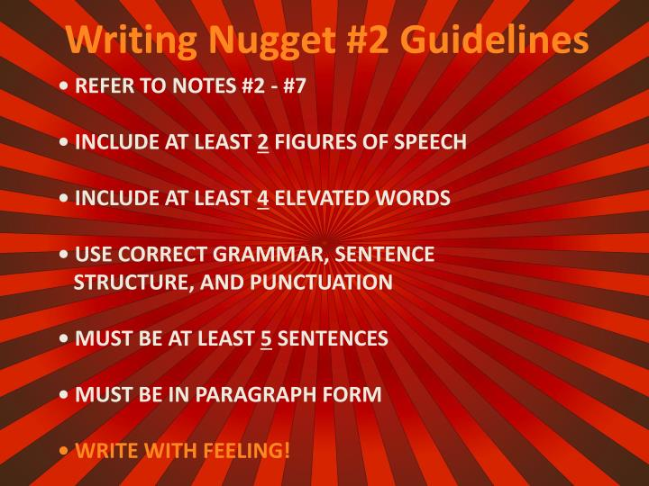 Writing Nugget #2 Guidelines