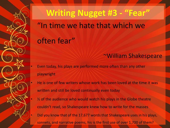 "Writing Nugget #3 - ""Fear"""
