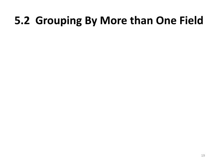 5.2  Grouping By More than One Field