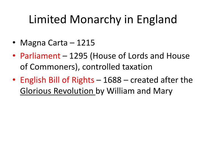 Limited Monarchy in England