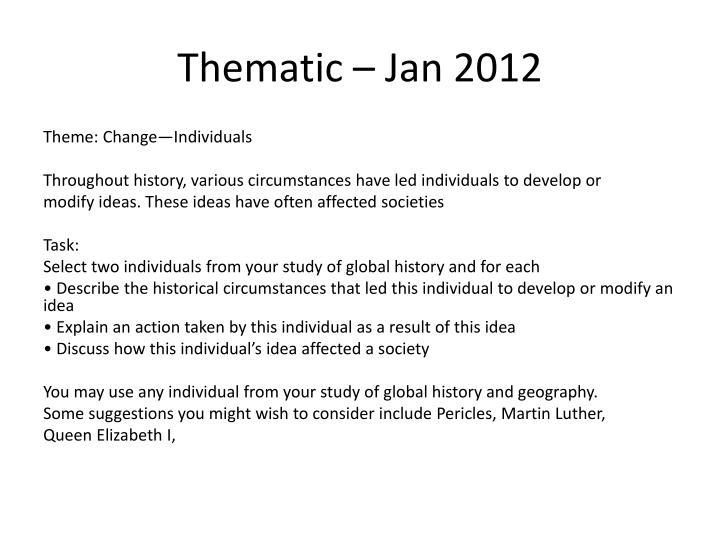 Thematic – Jan 2012