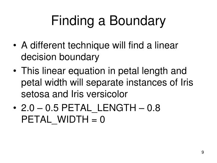 Finding a Boundary