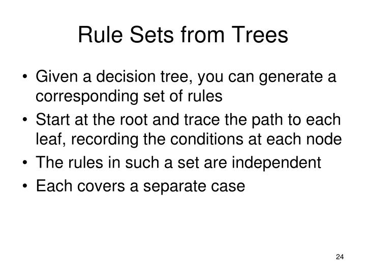 Rule Sets from Trees