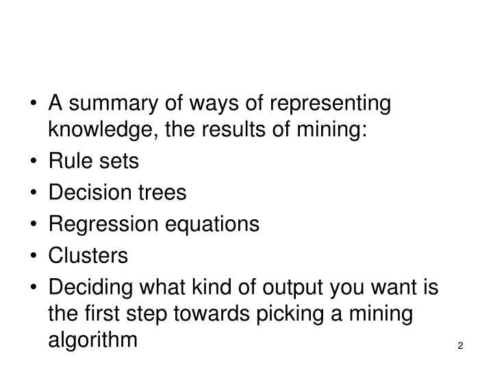 A summary of ways of representing knowledge, the results of mining: