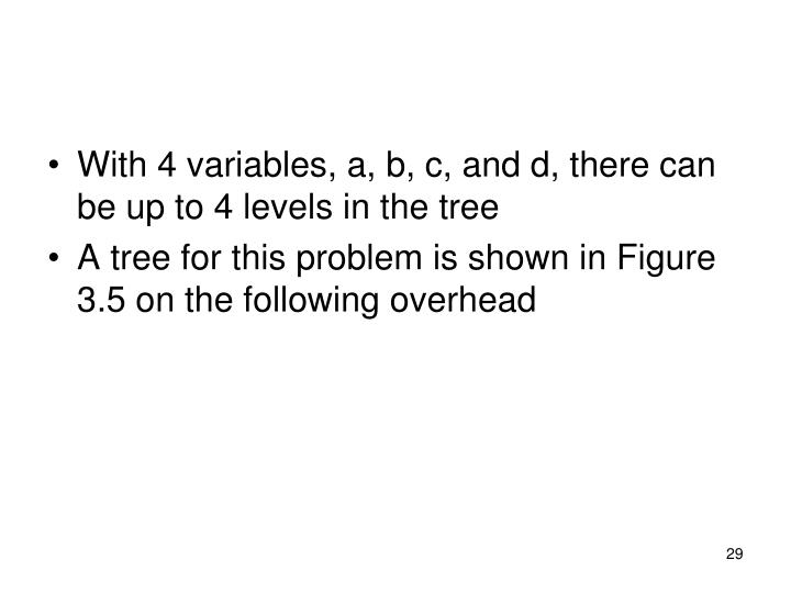 With 4 variables, a, b, c, and d, there can be up to 4 levels in the tree