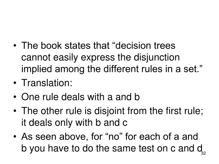 "The book states that ""decision trees cannot easily express the disjunction implied among the different rules in a set."""