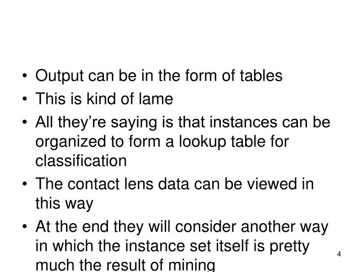 Output can be in the form of tables