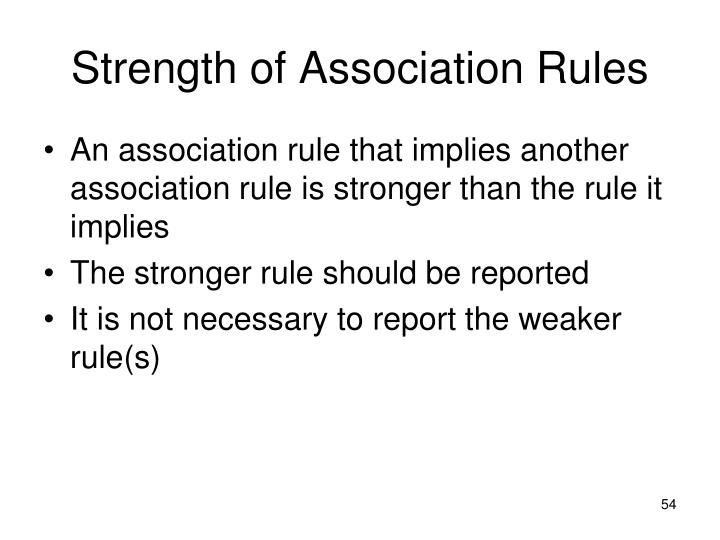 Strength of Association Rules
