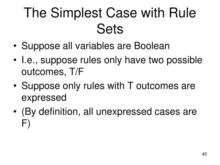The Simplest Case with Rule Sets