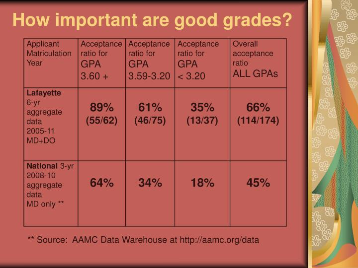 How important are good grades?