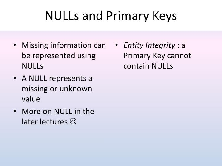 NULLs and Primary Keys