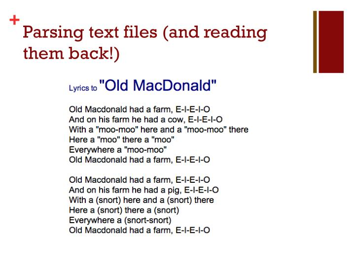 Parsing text files (and reading them back!)
