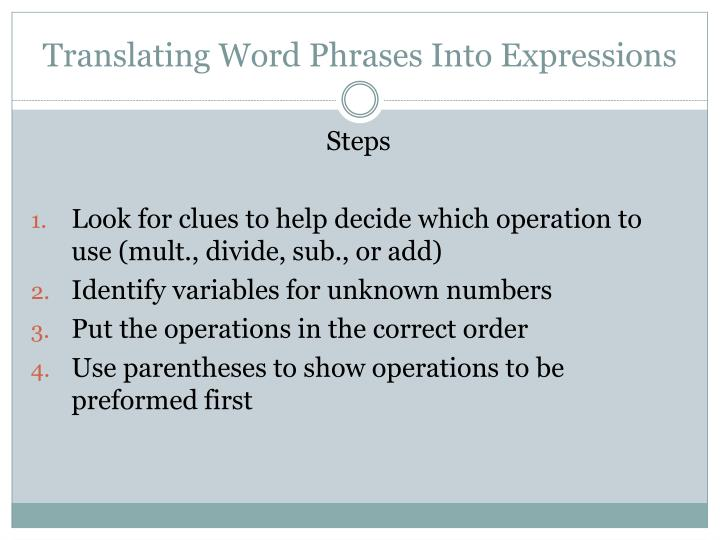 Translating word phrases into expressions