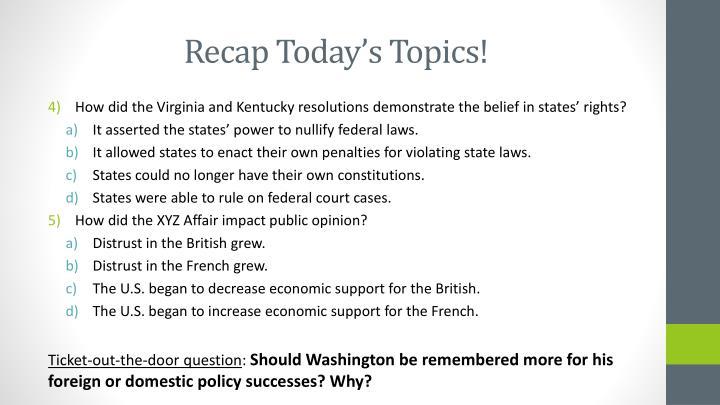 Recap Today's Topics!