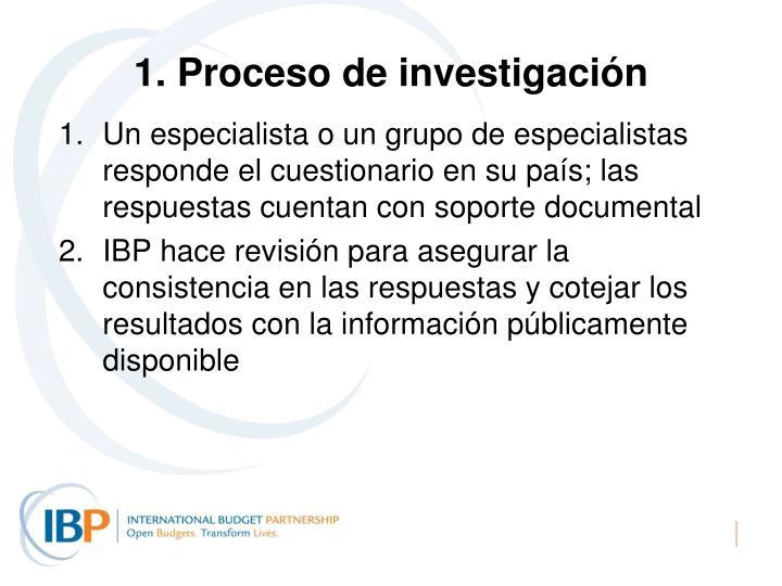 1. Proceso de investigación