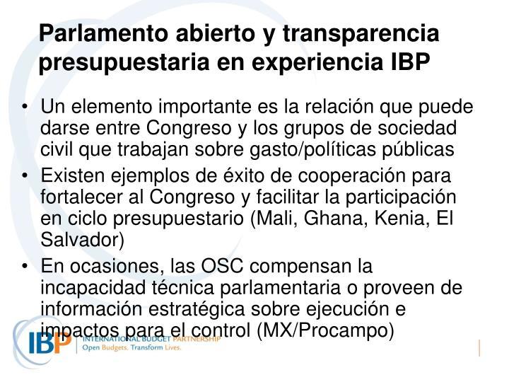 Parlamento abierto y transparencia presupuestaria en experiencia IBP