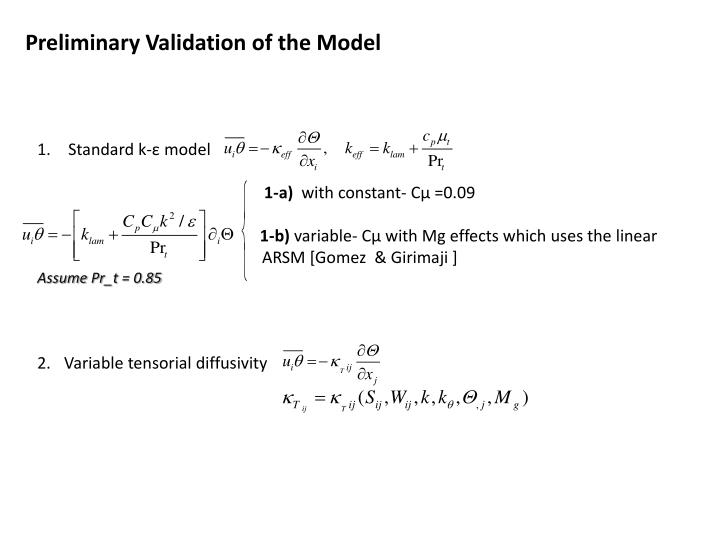 Preliminary Validation of the Model