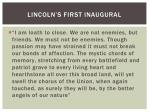 lincoln s first inaugural1