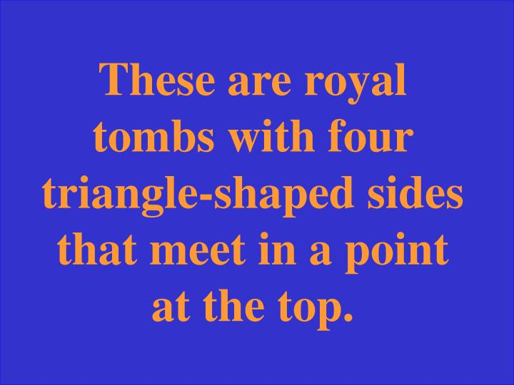 These are royal tombs with four triangle-shaped sides that meet in a point at the top.