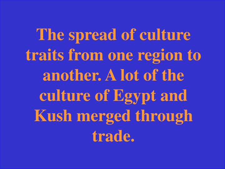 The spread of culture traits from one region to another. A lot of the culture of Egypt and Kush merged through trade.
