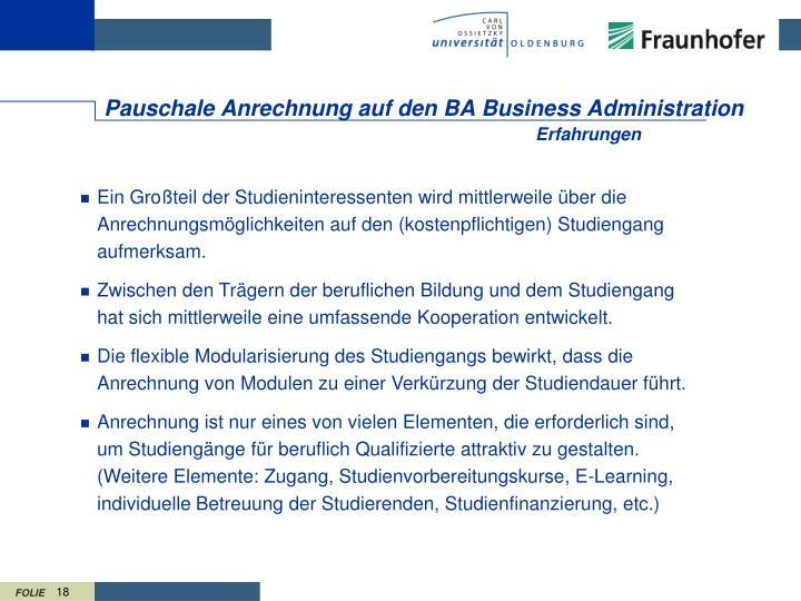 Pauschale Anrechnung auf den BA Business Administration