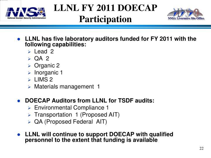 LLNL FY 2011 DOECAP
