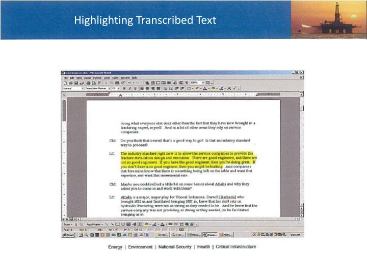 Highlighting Transcribed Text