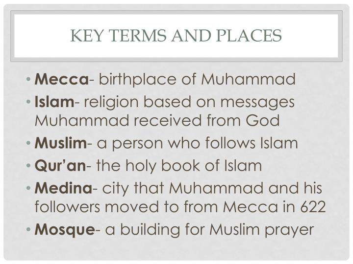 Key terms and places