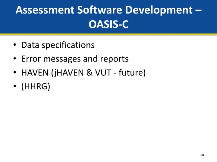Assessment Software Development – OASIS-C