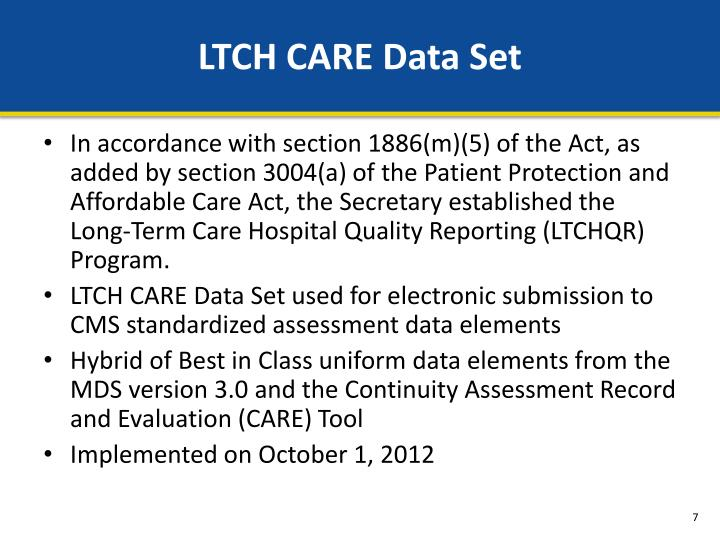 LTCH CARE Data Set