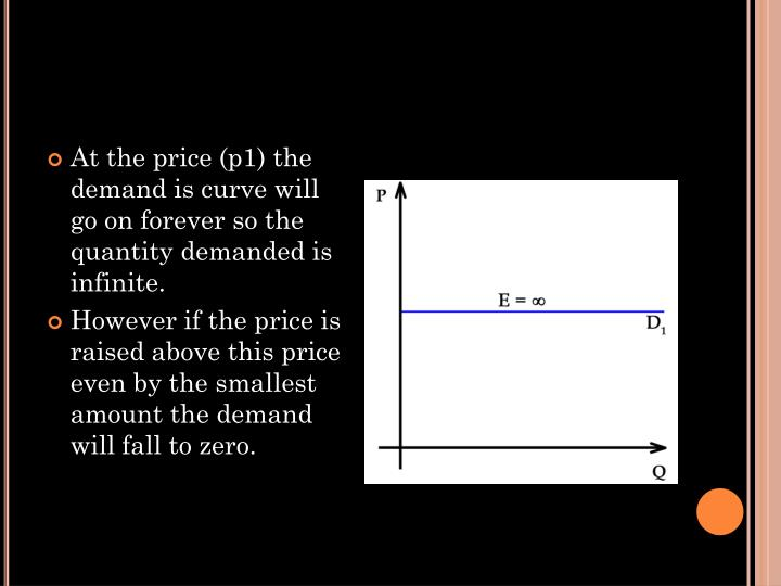 At the price (p1) the demand is curve will go on forever so the quantity demanded is infinite.