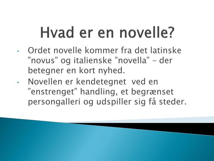 Hvad er en novelle?