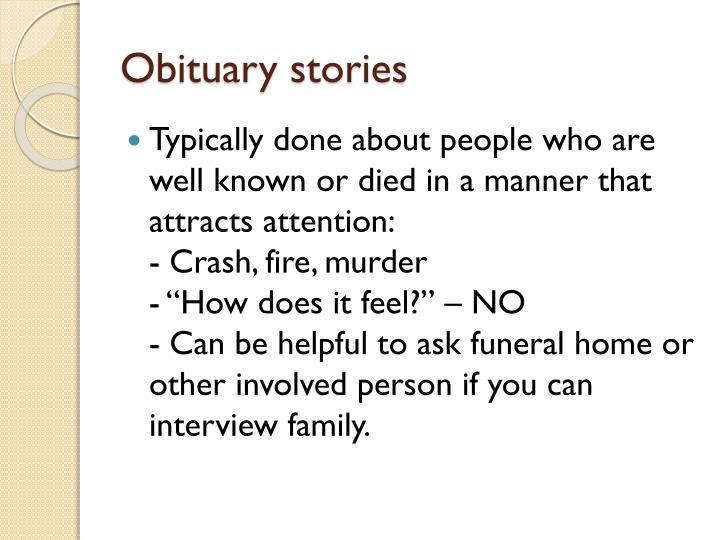 Obituary stories