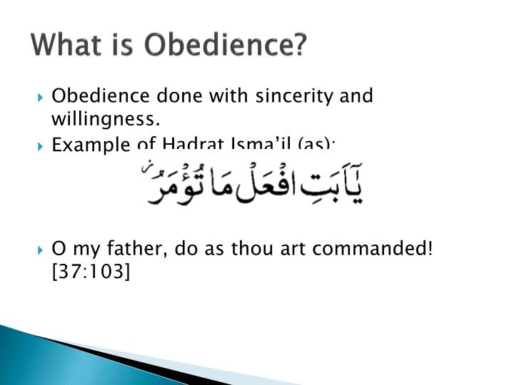 What is Obedience?