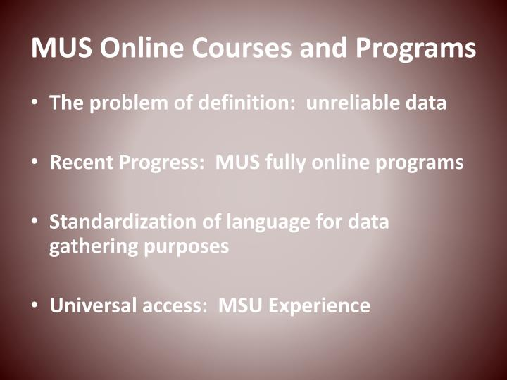 mus online courses and programs n.