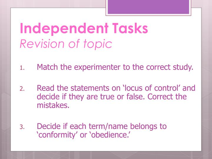 Independent Tasks