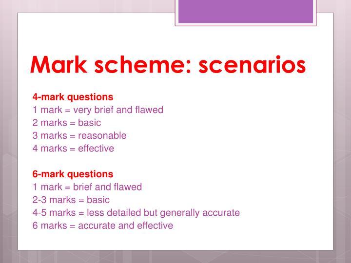 Mark scheme: scenarios