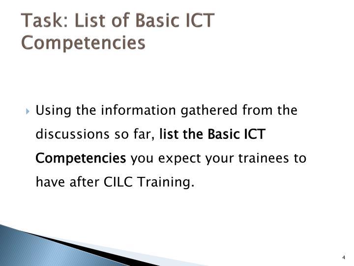 Task: List of Basic ICT Competencies