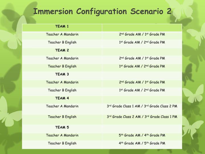 Immersion Configuration Scenario