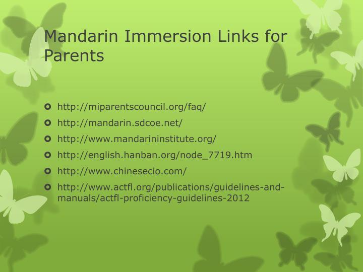 Mandarin Immersion Links for Parents