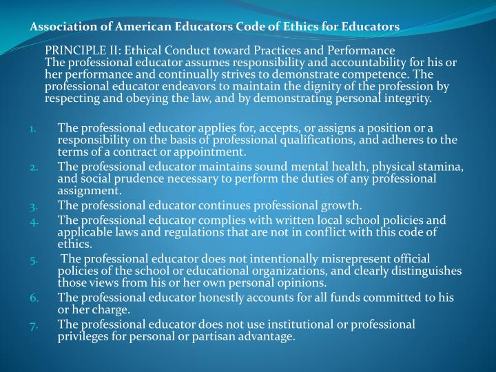 Association of American Educators Code of Ethics for Educators