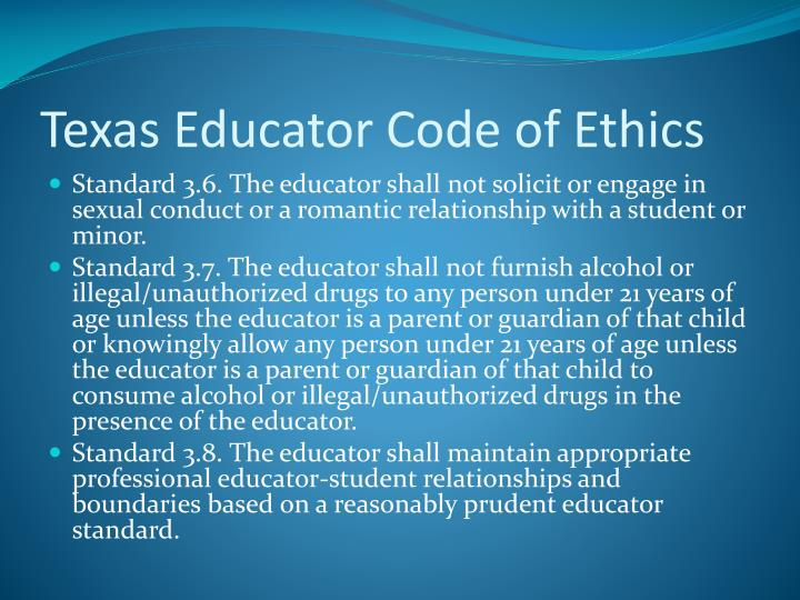 Texas Educator Code of Ethics