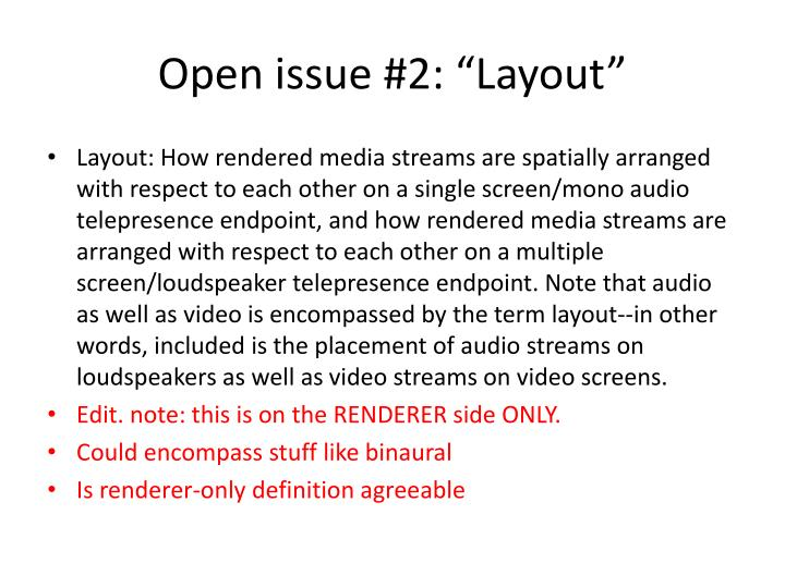 """Open issue #2: """"Layout"""""""