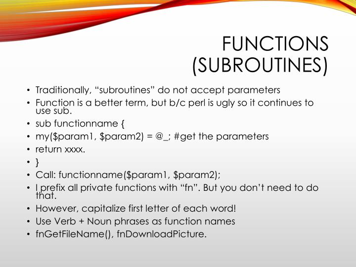 Functions (subroutines)
