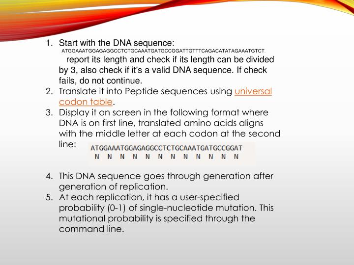Start with the DNA sequence: