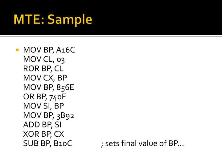 MTE: Sample