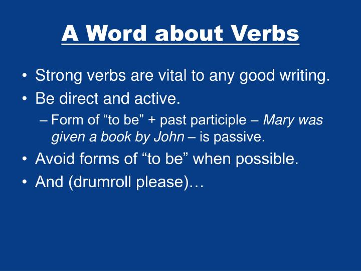A Word about Verbs
