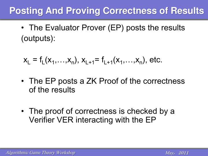 Posting And Proving Correctness of Results