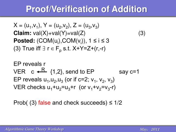 Proof/Verification of Addition