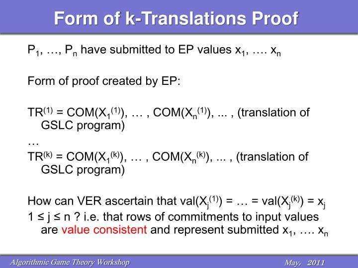 Form of k-Translations Proof